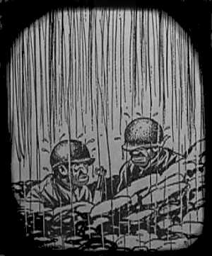 Cartoon of two soldiers in a foxhole in the rain.