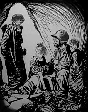 Cartoon of a soldier standing in a darkedned doorway talking to a soldier sitting with two skinny ragged kids on his knees.