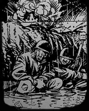 Cartoon of two soldiers squatting in the mud with bullets and shells flying overhead and exploding.