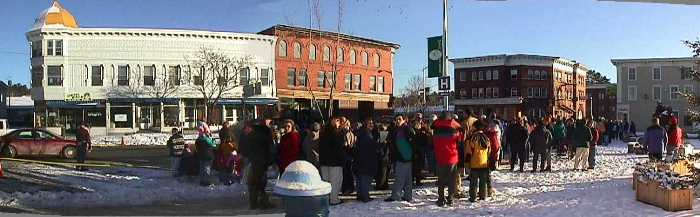 Picture of a main street, Lancaster on December 31, 1999 at 3PM as people gather for a group picture of folks from Lancaster.